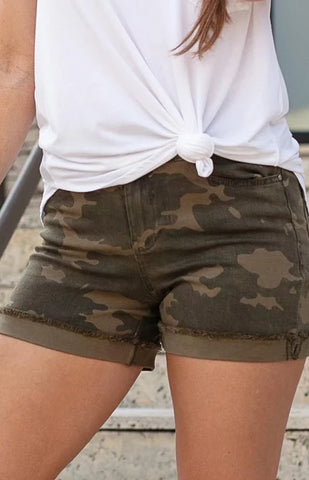 Zip Up Midi Shorts In Camo by Grace & Lace