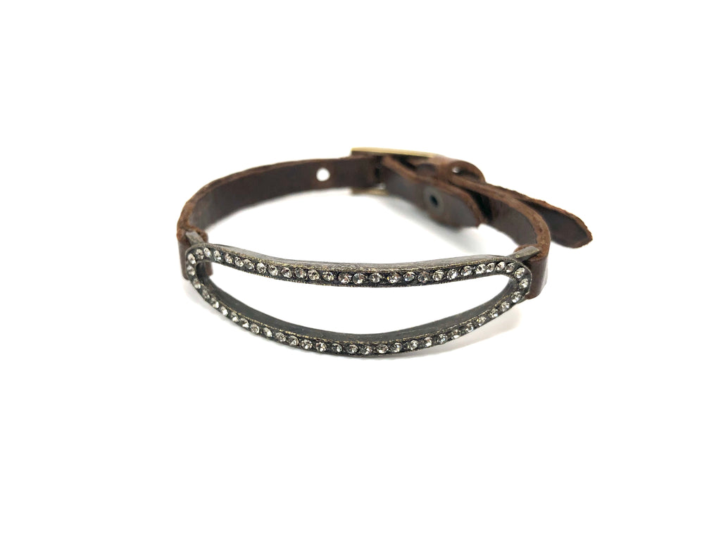 Rebel Designs Elongated Oval Bracelet With Black Diamonds