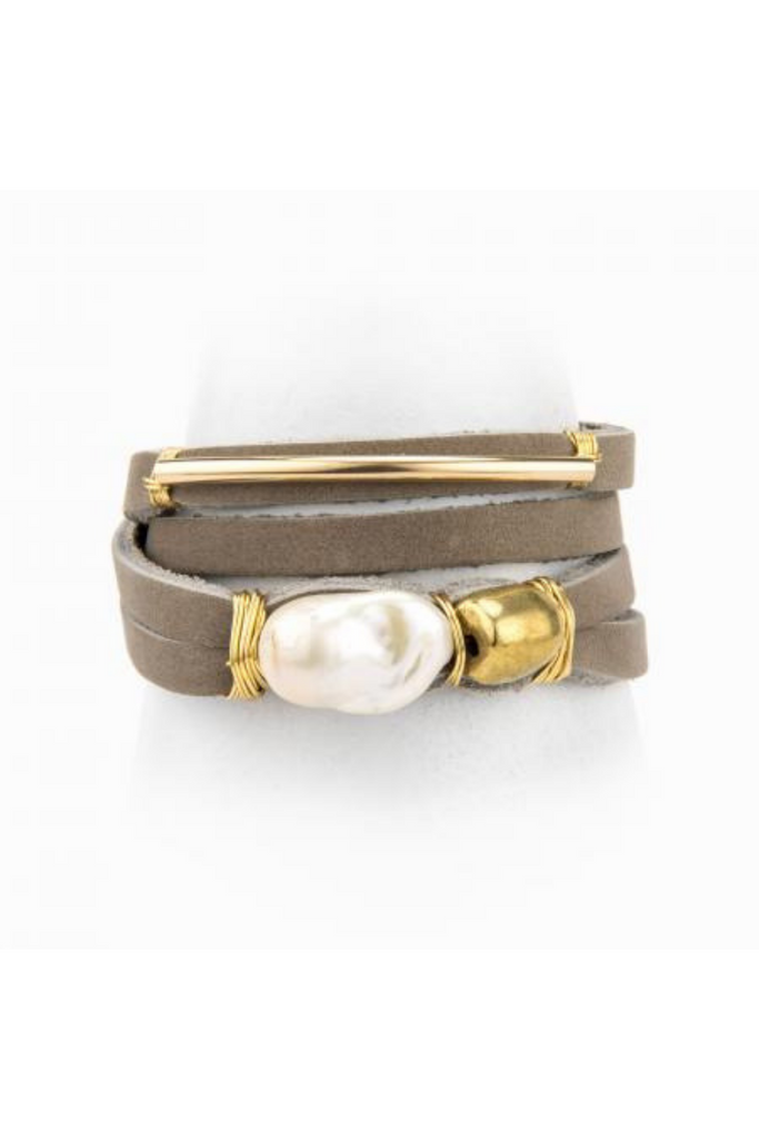 Taylor and Tessier Jace Leather and Pearl Bracelet
