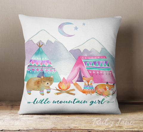 Little Mountain Girl Decorative Pillow