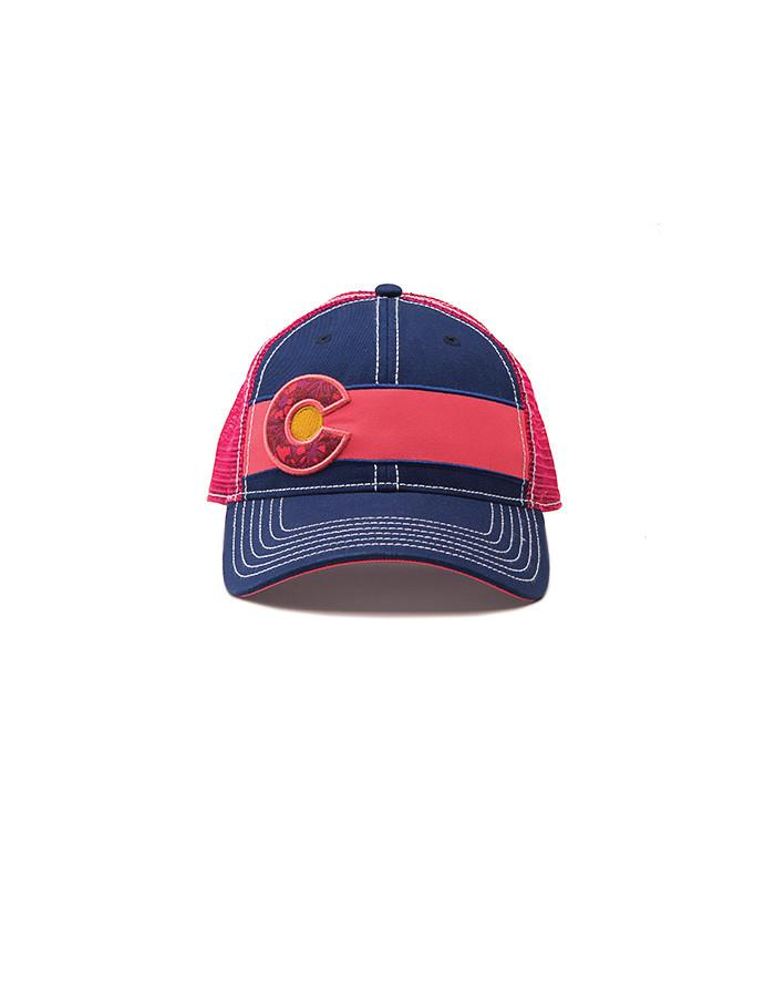Republic Colorado Flag Trucker Hat In Navy & Pink