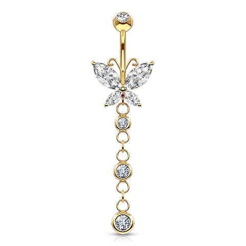 14K Gold Dangly Butterfly Navel Ring