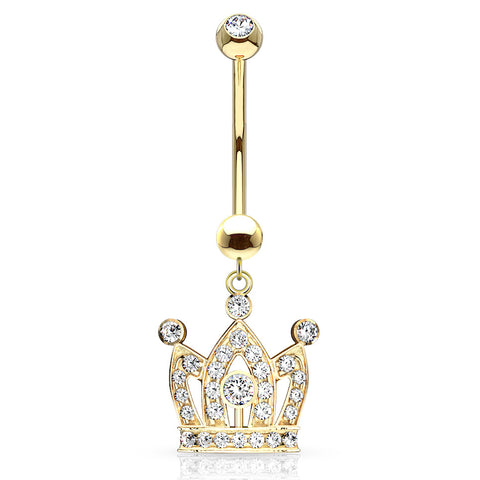Dangling Belly Ring. Quality Belly Bars. Q.U.E.E.N Crown Belly Dangle in 14K Gold