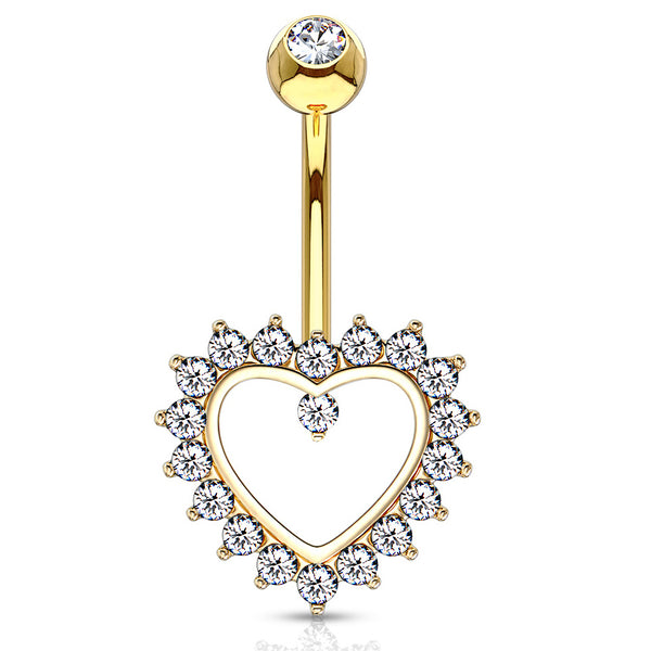 Taji Paved Heart Belly Ring in 14K Gold - Fixed (non-dangle) Belly Bar. Navel Rings Australia.