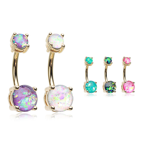 14K Gold Plated Kingdom Gem Belly Piercing Ring