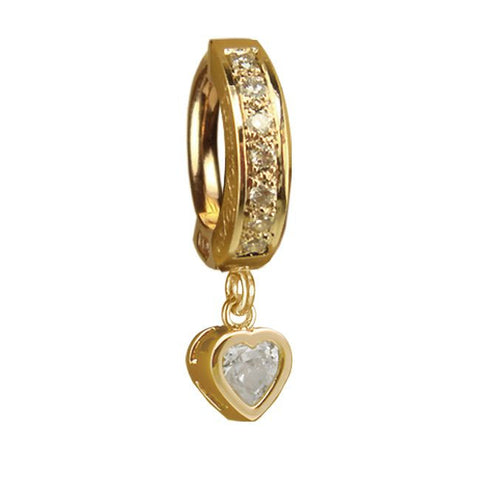 Taji Paved Heart Belly Ring in 14K Gold