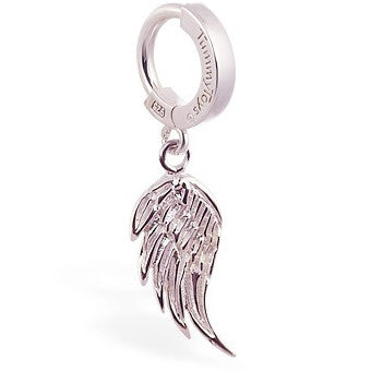 TummyToys® Patented Clasp. Navel Rings Australia. TummyToys® Silver Femme Metale's Angel Wing Belly Piercing Ring