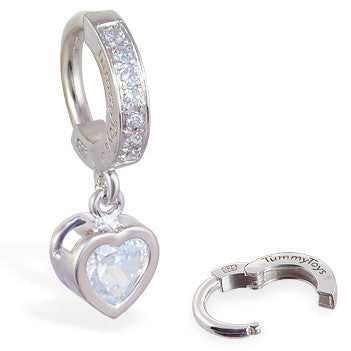 TummyToys® Patented Clasp. Buy Belly Rings. TummyToys® Paved Silver Heart Bezel Set