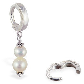TummyToys® Patented Clasp. Belly Rings Australia. TummyToys® Freshwater Pearl Navel Piercing Bar