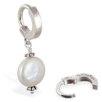 TummyToys® Patented Clasp. High End Belly Rings. TummyToys® Silver Cream Freshwater Coin Pearl Pendant
