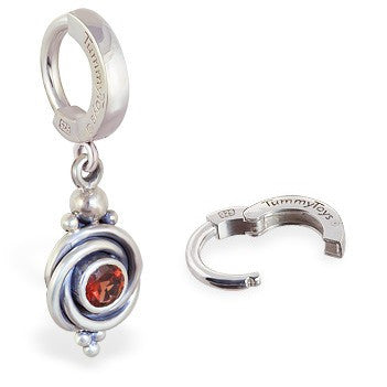 TummyToys® 925 Silver Garnet Huggy - TummyToys® Patented Clasp. Navel Rings Australia.