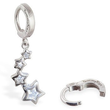TummyToys® Patented Clasp. High End Belly Rings. TummyToys® Silver CZ Shooting Stars Navel Jewellery