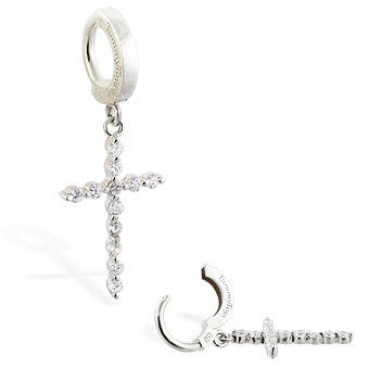 TummyToys® Patented Clasp. Shop Belly Rings. TummyToys® CZ Diamond Cross Navel Piercing Bar