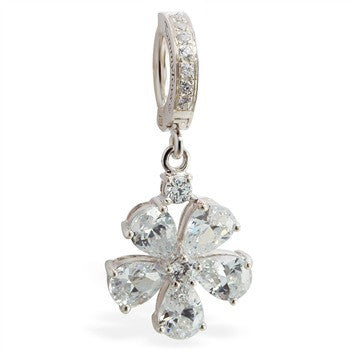 TummyToys® Patented Clasp. Buy Belly Rings. TummyToys® CZ Paved Flower Belly Ring