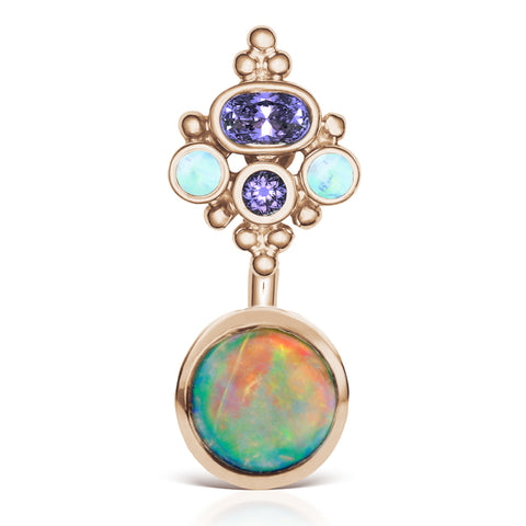 Basic Curved Barbell. Quality Belly Bars. Opal n' Tanzanite MT Crown Belly Ring in Rose Gold by Maria Tash
