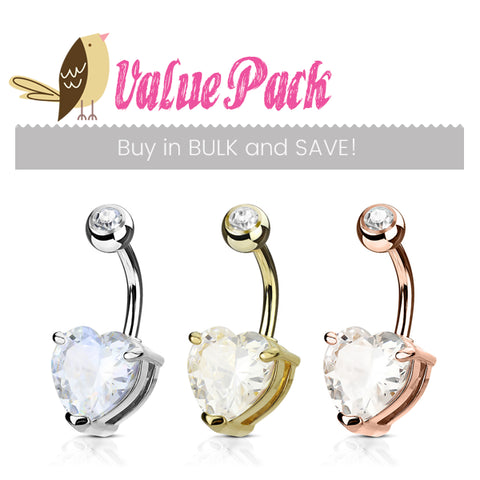 Basic Curved Barbell. Cute Belly Rings. VALUE PACK 3 X Mixed Material Heart Solitaire Belly Bars