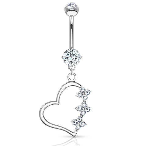Dangling Belly Ring. Shop Belly Rings. Diamanté Heart Belly Dangle in 14K White Gold