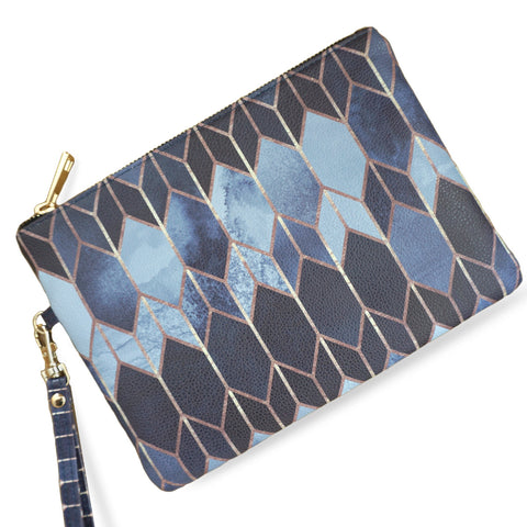 Stained Glass 4 - Blue & Black Vegan Wristlet Clutch Bag