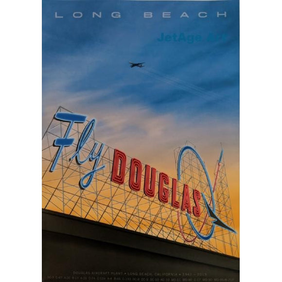 Long Beach Airport At Sunset Poster 14 X 20 - Airliner Replicas