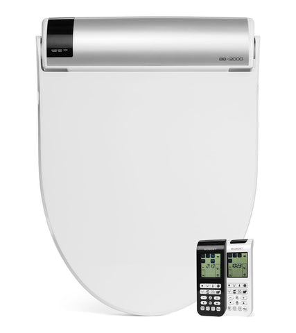 BIO BIDET BLISS BB-2000 ELONGATED White Electronic Toilet Seat - On-Demand Heated Water - Stainless Steel Jet Wash - Remote Control
