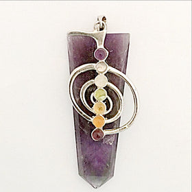 Amethyst Chakra Pendant with Spiritual Life Force Symbol-New Earth Gifts