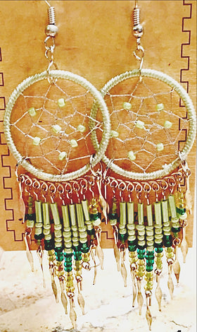 Dream Catcher Earrings Peridot Green - New Earth Gifts