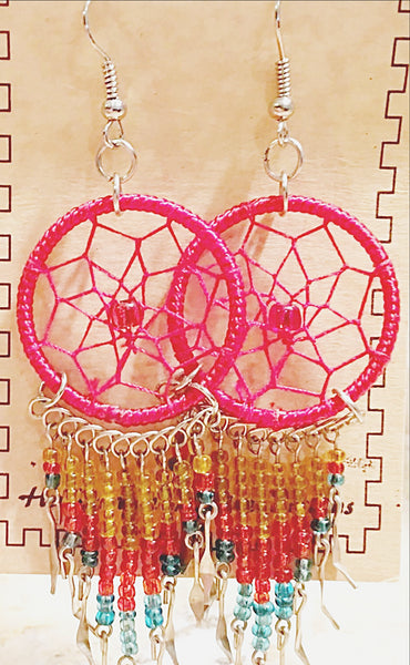 Dream Catcher Earrings Red with Colorful Beads -New Earth Gifts