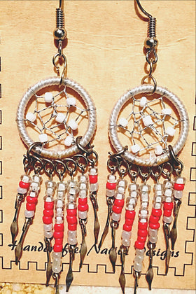 Dream Catcher Earrings Gray and Red - New Earth Gifts