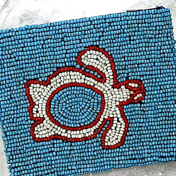 Beaded Coin Purse - Turquoise, Coral and White Sea Turtle Design