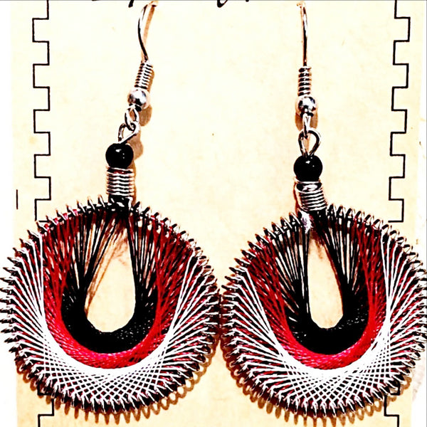 Thread Earrings Central American Style Multi Colors -New Earth Gifts