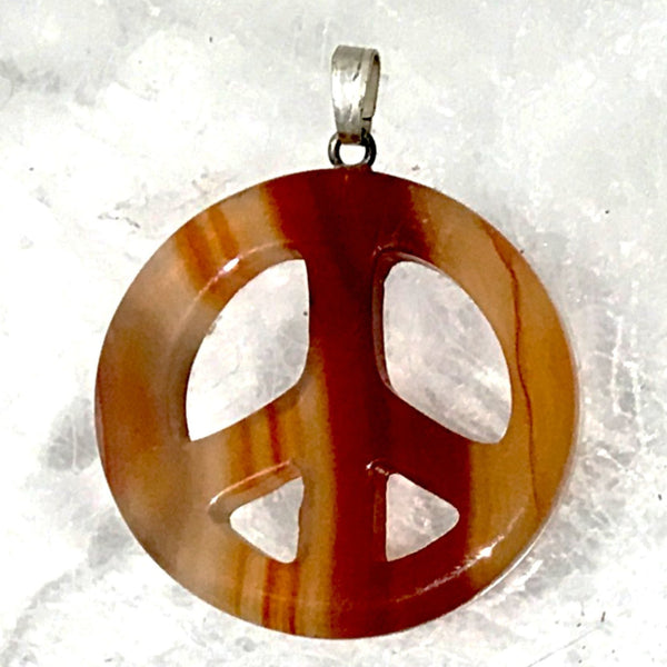 Peace Pendant with Cord - Gemstone Peace Symbol - New Earth Gifts and Beads