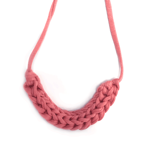 T-Shirt Yarn Necklace- Pink