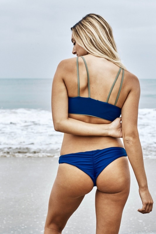 Bea Reversible Ruched Bikini Bottom (Moss/Navy) - Lagoa Swimwear