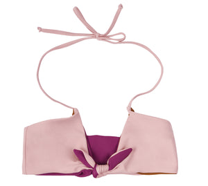 Zara Reversible Tie Front Bikini Top (Blush/Dark Berry) - Lagoa Swimwear