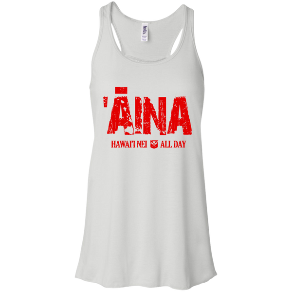 Aina Hawai'i Nei All Day (red ink) Bella + Canvas Flowy Racerback Tank, T-Shirts, Hawaii Nei All Day, Hawaii Clothing Brands