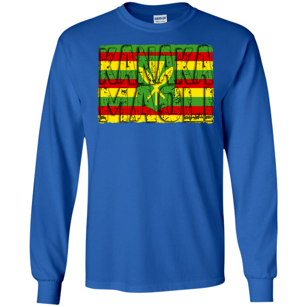 Kanaka Maoli LS Ultra Cotton Tshirt, Long Sleeve, Hawaii Nei All Day