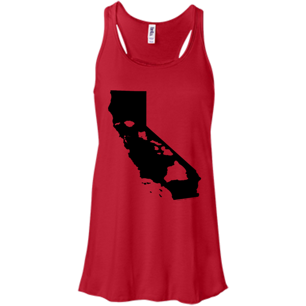 Living In California With Hawaii Roots Bella+Canvas Flowy Racerback Tank, , Hawaii Nei All Day
