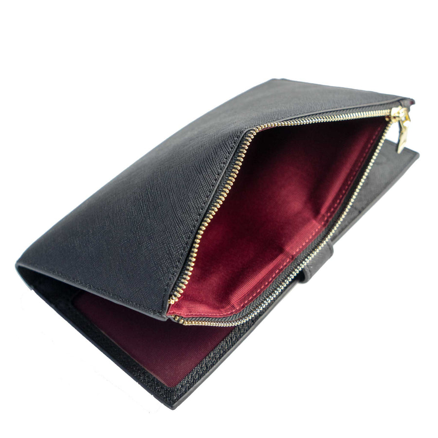 Black Travel Wallet with Strap