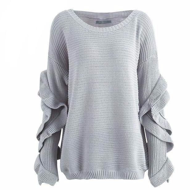 Gray Emily off shoulder slouch sweater with ruffle sleeves