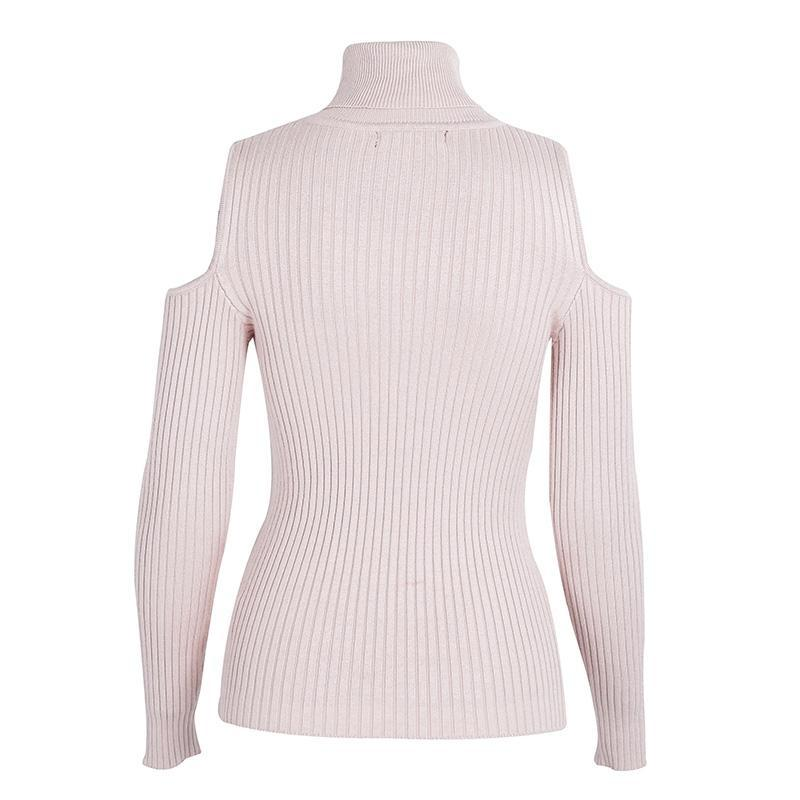 Demeter Pink Cold-Shoulder Cutout Turtleneck Sweater | Bijou Blossoms