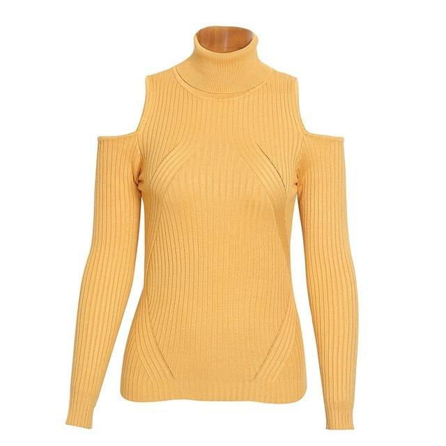 Demeter Yellow Cold-Shoulder Cutout Turtleneck Sweater | Bijou Blossoms