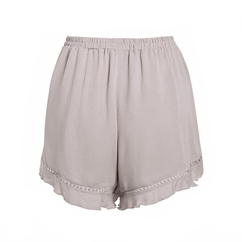 Artesia Ruffled Casual Shorts in Khaki | Bohemian Fashion Clothing | Bijou Blossoms