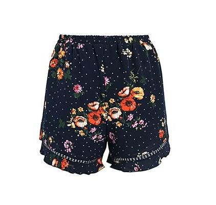Artesia Ruffled Casual Shorts in Black Print | Bohemian Fashion Clothing | Bijou Blossoms