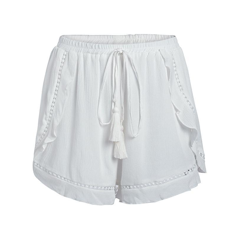 Artesia Ruffled Casual Shorts in White | Bohemian Fashion Clothing | Bijou Blossoms