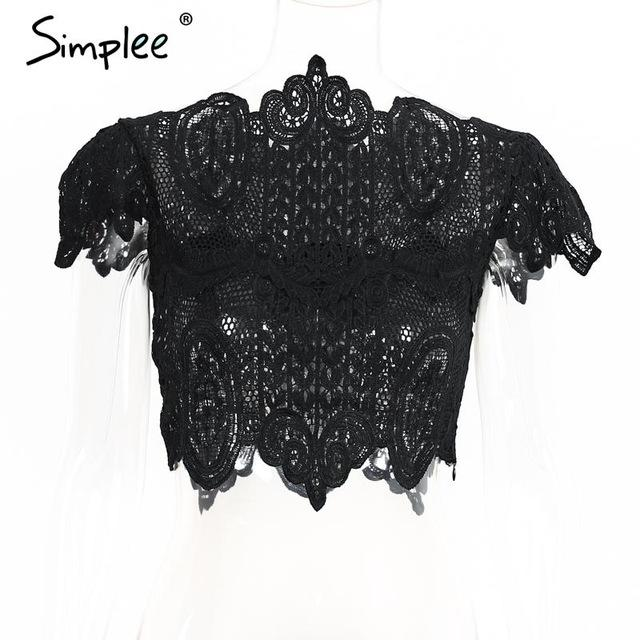 Summer style elegant black lace crochet crop top