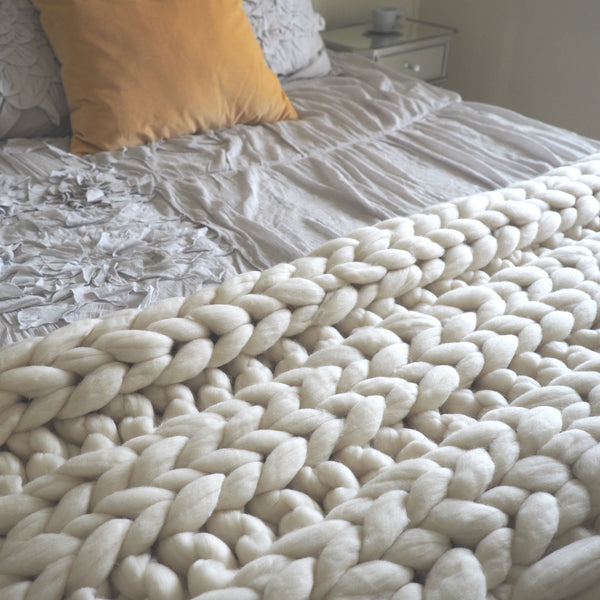 Clouds Rest Hand Knit 100% Merino Wool Blanket - Woolly Mammoth Woolen Company