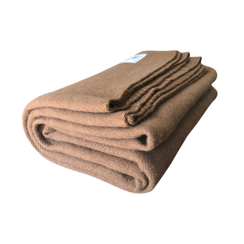 Rugged Tan Wool Camping Blanket - Woolly Mammoth Woolen Company