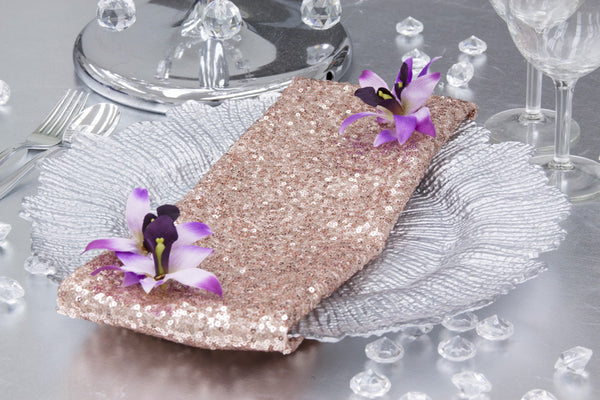 Glitz Sequin Napkin - Blush/Rose Gold