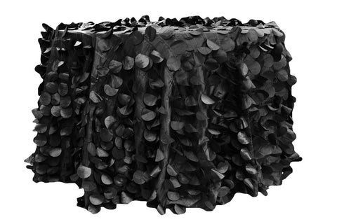 Petal Circle Taffeta Round Table Linens - Black