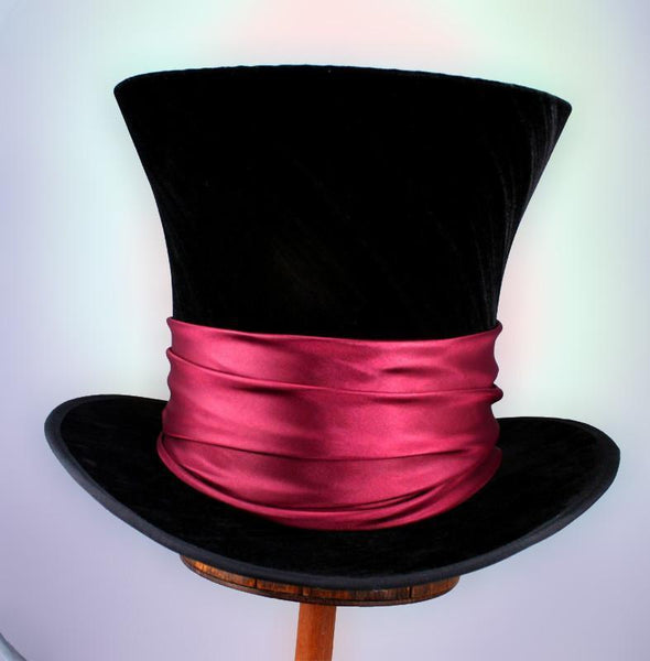Mad Hatter - Black Velvet / Burgundy Sash - Tall Toad